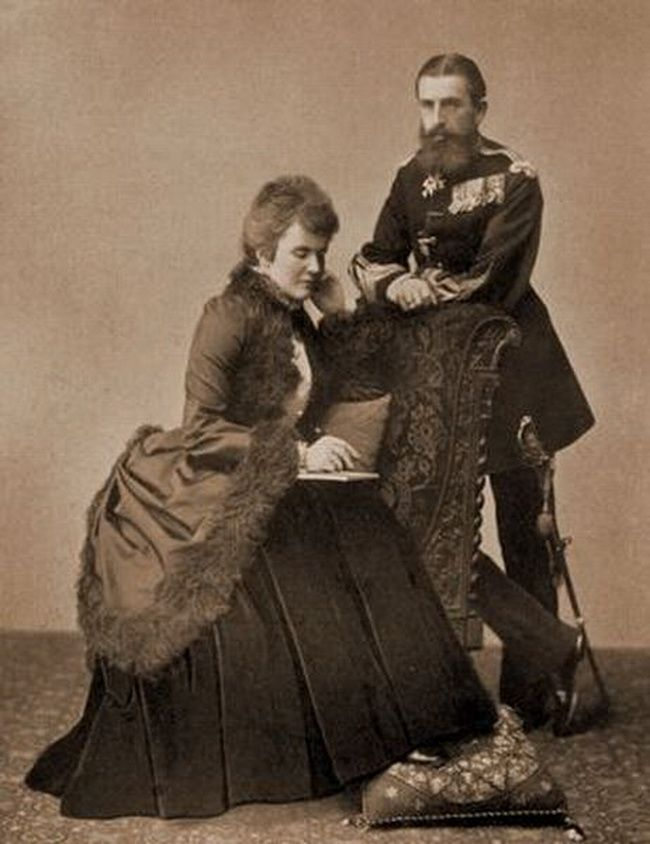 King Carol I of Romania and consort. Queen Elisabeta nee Pss of Wied and also known as Carmen Sylva. 1880s.