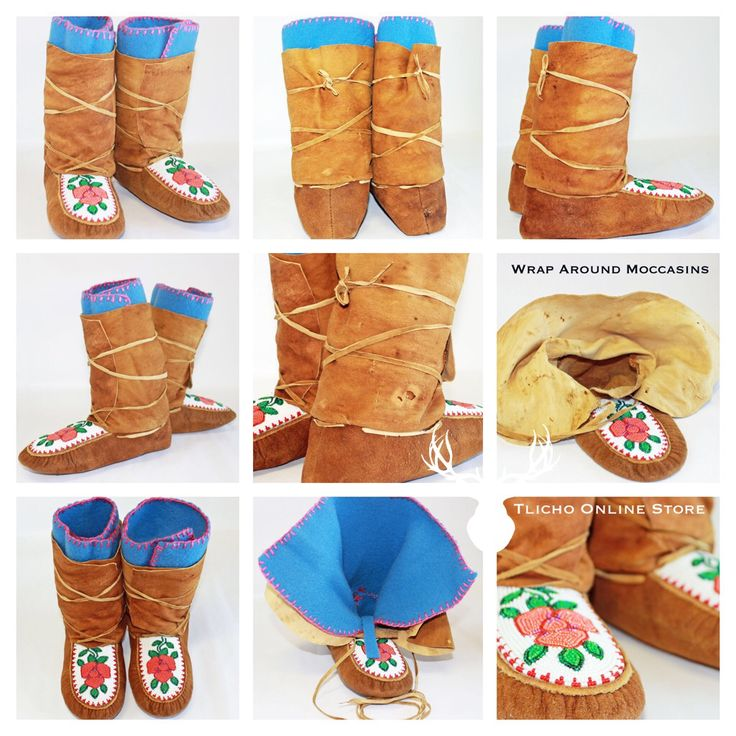 #Moose & #Caribou Hide Wrap Around #Moccasins made by a #Tlicho from #Behchoko, NT. Available at http://onlinestore.tlicho.ca