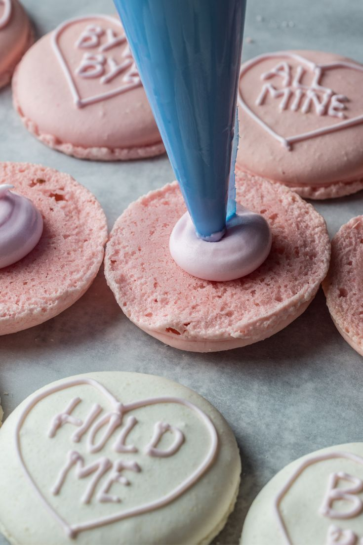 This beautiful love heart macaron recipe was created by Hakkasan executive pastry chef Graham Hornigold in collaboration with chef Sarah Frankland, head of Pastry at Yauatcha. The wonderful pastel shade shells are created using food colouring.