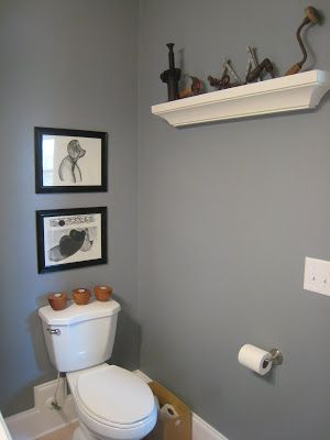 Sherwin Williams Steely Gray is the perfect paint colour for the basement walls, maybe a few shades softer...