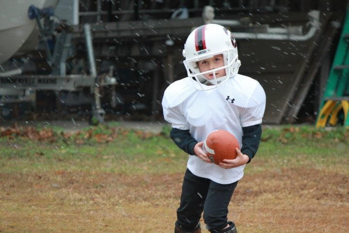 Submitted by Chad DeWitt of his young Gamecock as the snow started to fall. Future Carolina football player? We think Yes!