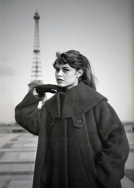 1940's, Paris, Eiffel Tower in the background. Actress, model, Bridget Bardot. Photo by ?