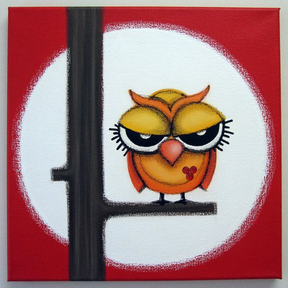 sOOOO mAd 12x12 original acrylic painting owl by art4barewalls