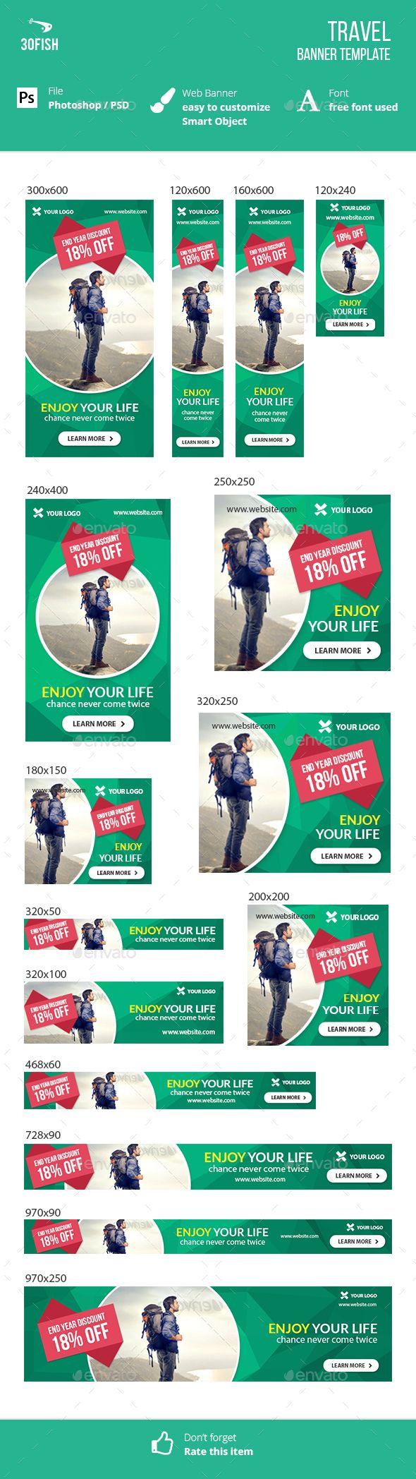 Travel Web Banner Template PSD #design #ads #promotion Download…