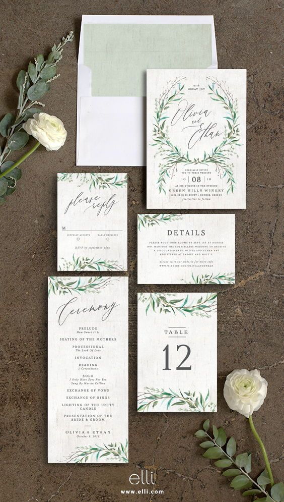Natural Laurel wedding invitation suite with greenery