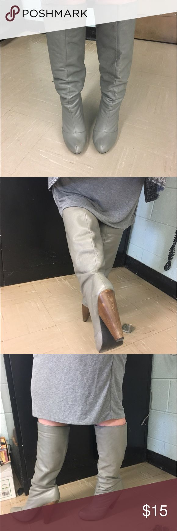 Knee High Boot Soft leather platform grey knee high boot. Condition very good. Goes amazing with skinny jeans or work dress. Volatile Shoes Heeled Boots