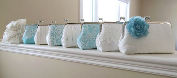 SALE 20% OFF Mis Matched Bridesmaid Clutches Set by lostintimeinc