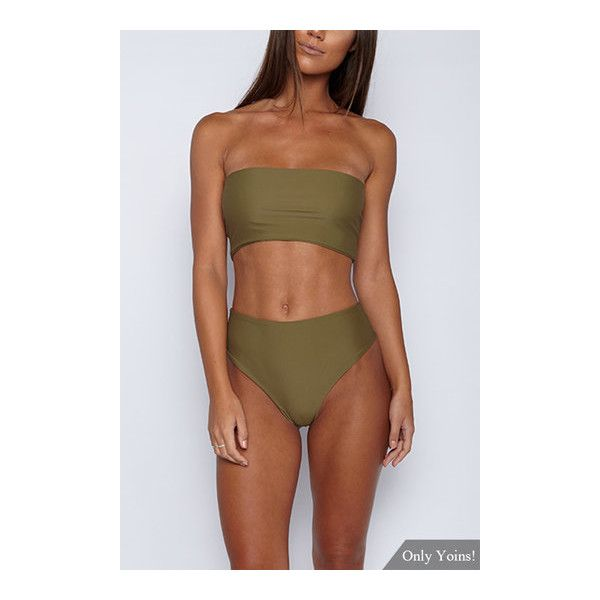 Khaki Sleeveless Tube Top Bikini Set ($7.19) ❤ liked on Polyvore featuring swimwear and bikinis
