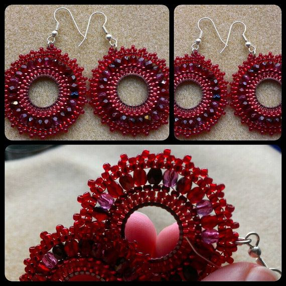 Check out this item in my Etsy shop https://www.etsy.com/listing/215764551/beaded-dark-red-hoop-earrings-dark-red