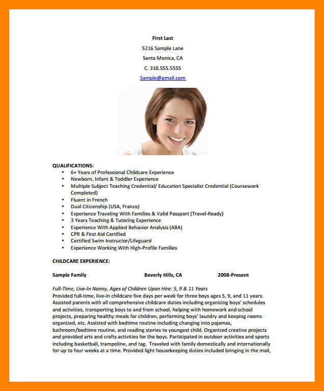 Pleasant Resume Sample Biography Template About 13 Babysitting