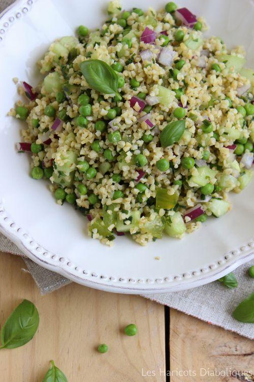 Taboulé de boulgour aux légumes verts (4) salad | salade | food | healthy | santé | light | good | green