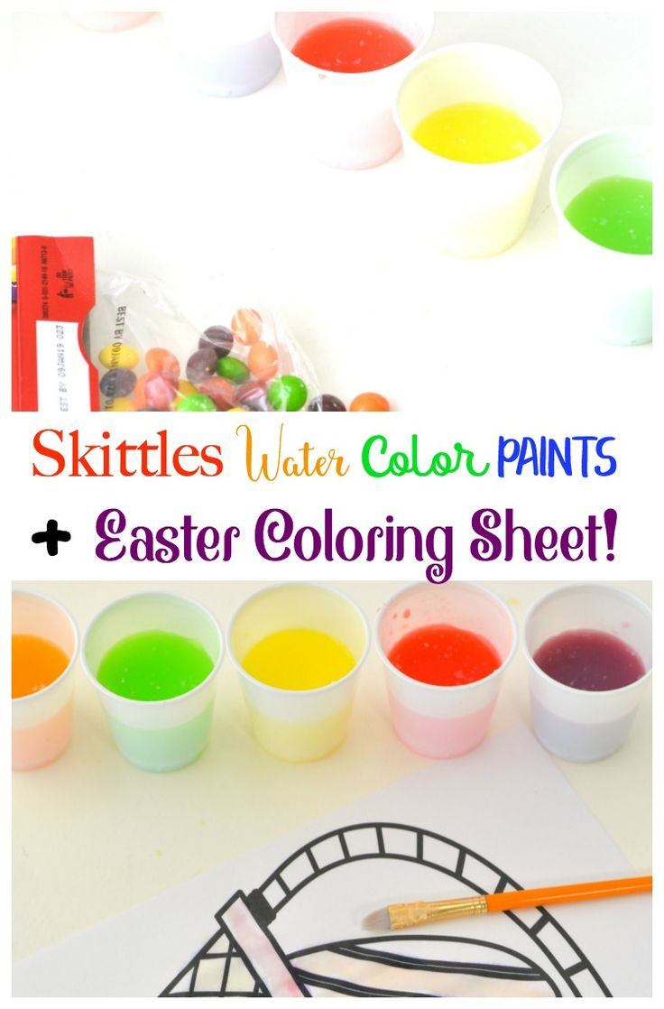 Get your little one's creativity going with Skittles Water Color Paints + Easter Coloring Sheet. This is a fun activity for all ages that will give them hours of creative fun!
