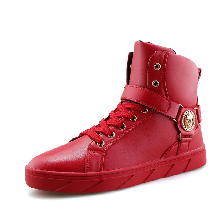 man's pure all black red white color fashion boots Korean style high top autumn winter shoes mens pirate skull metal trend boots