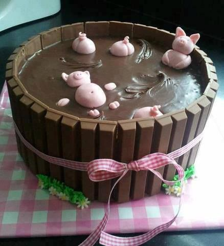 Bake a cake, cover with Nutella, KitKatts and add some frosting for the bigs and grass. Adorable little cake idea.