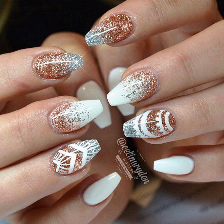 """New winter nails for fab @styleelin ✨✂️ Light Elegance hard gels used: ✨ Perfect White, Sterling Silver, Cinnamon ✨Light Elegance Ambassador…"""