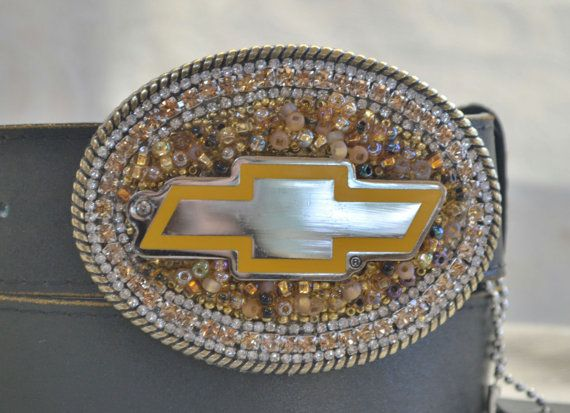 Ladies Chevy Belt Buckle Cowgirl Chevy Belt by CreativityAtPlay, $55.00