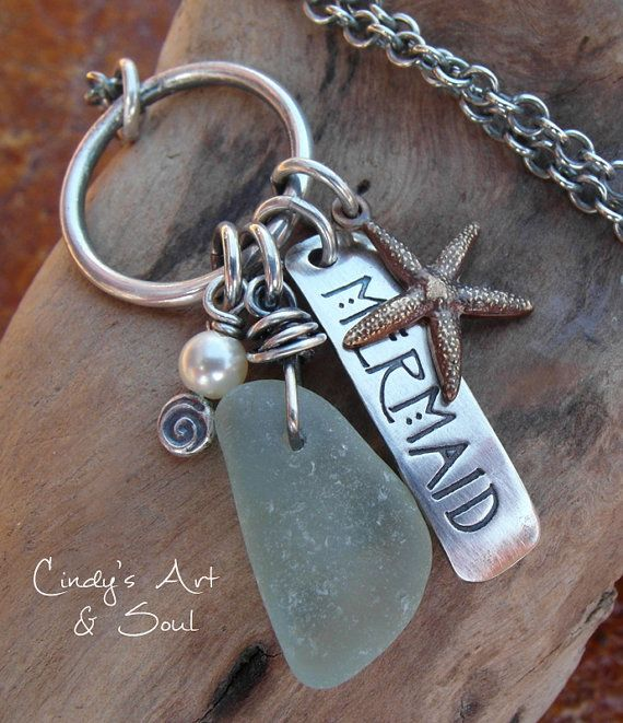 Mermaid Beach Glass Necklace Hand Stamped by ArtandSoulJewelry, $58.00