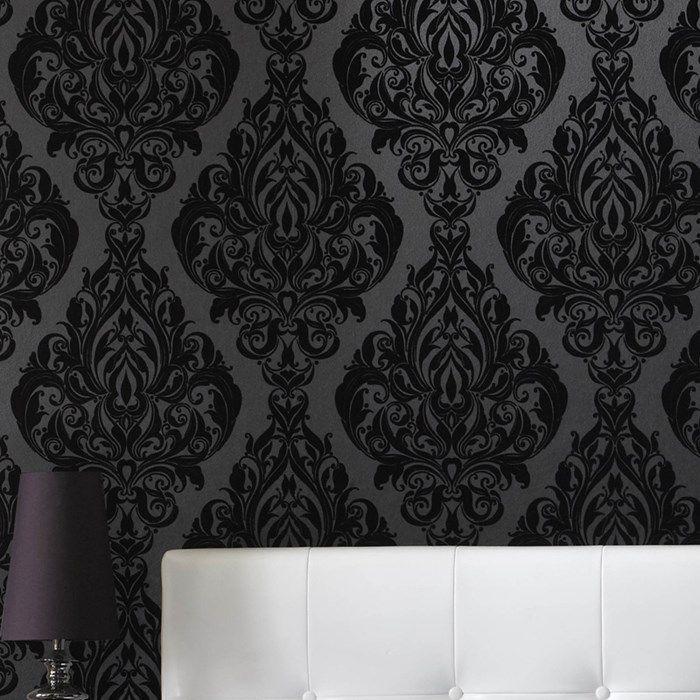 Bedroom Wallpaper Designs Black And White Bedroom Furniture For Teenagers Bedroom Door Curtains Diy Kids Bedroom Decor: Kinky Vintage Black Wallpaper