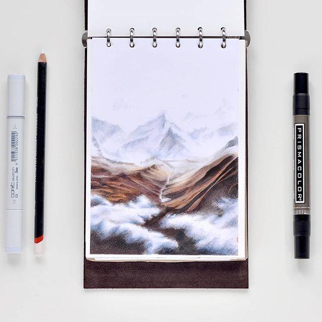 """Лучше гор могут быть только горы... Никакие моря и """"безделие""""их не заменят для меня. Всей душой всегда в горах... Испытывала карандаши derwent inktense с маркерами. Здорово работают вместе, и вообще классные они, даже стираются, в отличии от обычных цветных карандашей) И как-то больше нравятся чем акварельные. #sketch #sketchbook #sketchaday #illustration #sketchmarker #copic #copicsketch #copicart #liner #colorpallet #colorpencils #prismacolor #art #drawing #sketcher #dalerrowney #markers…"""