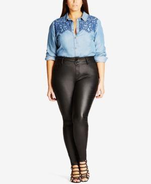 City Chic Trendy Plus Size Skylar Coated Faux-Leather Skinny Jeans - Black 22W