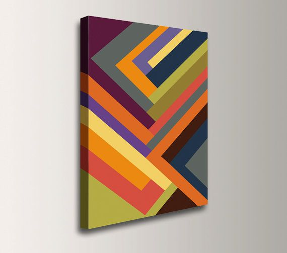 "Canvas geometric artwork mulit color stripe pattern large vibrant painting art print of colorful abstract art modern home decor ""Outer Edge"" – Amy Allison"