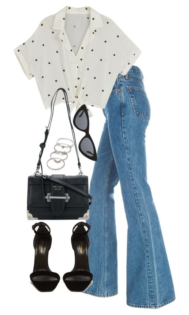 """Untitled #5158"" by theeuropeancloset ❤ liked on Polyvore featuring Yves Saint Laurent, Prada, Le Specs, Forever 21, denimtrend and widelegjeans"