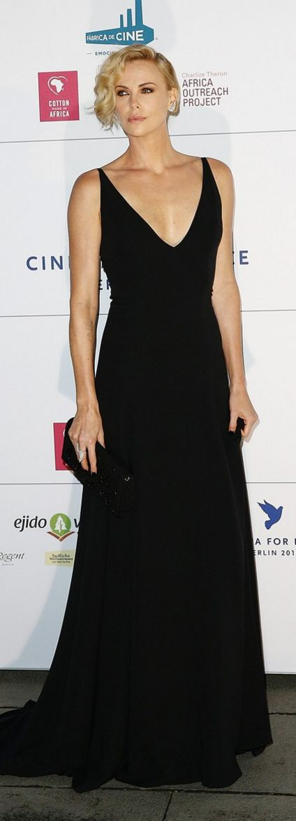 Who made Charlize Theron's black gown?                                                                                                                                                      More