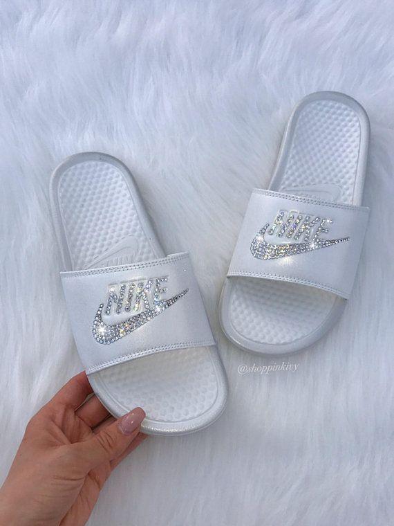 296fa2747 Women s Swarovski Nike Benassi Slide Sandals customized