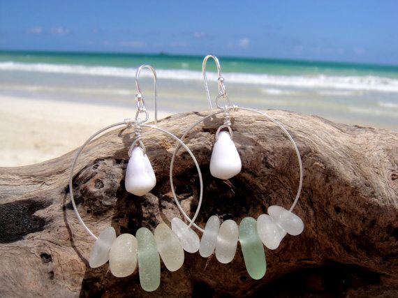 Hawaiian Cone Snail Shells with Aqua & Clear Beach Glass on 925 Sterling Silver Circular Wire Small Hoop Earrings by LindseysBeachGlass, $60.00