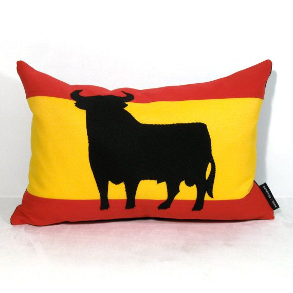 Spain Flag Pillow Cover  Outdoor Cushion  Decorative by Mazizmuse, $65.00