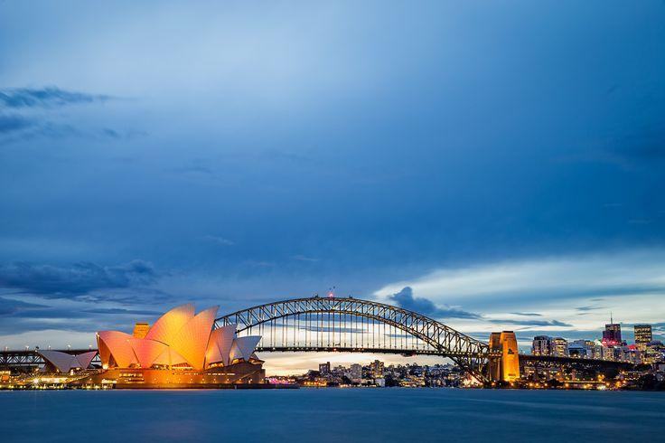 Sydney Skyline, Opera House & Sydney Harbour Bridge during Blue Hour, Sydney Australia