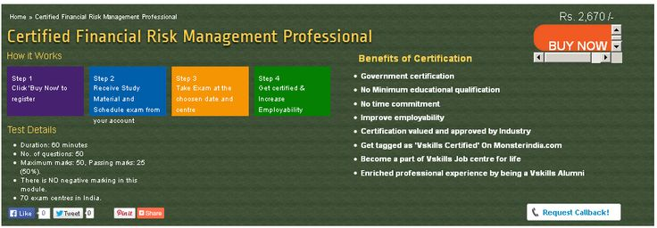 Vskills certification for Financial Risk Management Professional assesses the candidate as per the company's need for financial risk management. The certification tests the candidates on various areas in classifying risk, risk measurement, risk management, bull spreads, delta neutral strategies.