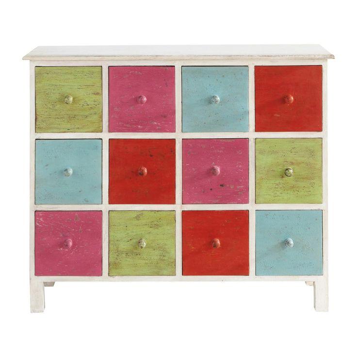 Commode cabinet multi-tiroirs multicolore Holi