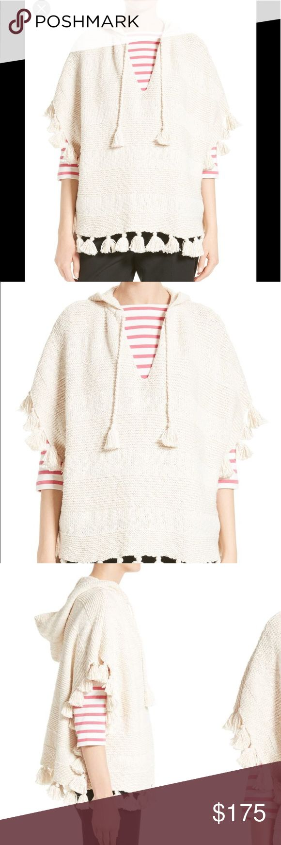 """NWOT*** tassel hooded slub cotton poncho Chunky tassels enhance the richly textured design of a hooded cotton-knit poncho for a playful layering piece to transition into next season. 27"""" length; 2"""" tassel (size Medium) Ties at V-neck Short sleeve No tags, never worn! kate spade Sweaters Shrugs & Ponchos"""