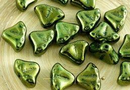 8pcs Metallic Green Luster Two 2 Bells Angel Wings Czech Glass Beads Christmas Easter 14mm x 14mm