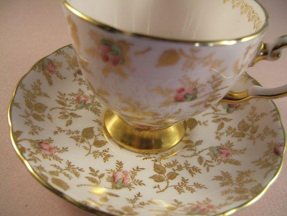 Vintage Bone China Teacup with Pink Roses.