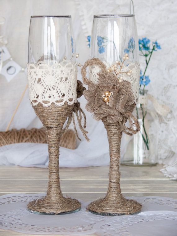 Rustic Chic Wedding glasses with rope, lace, pearl handmade flower. I bet I could DIY these!