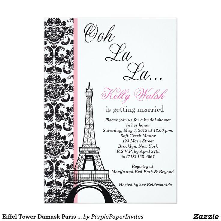 Eiffel tower damask paris bridal shower invitation paris for Paris themed invitations bridal shower