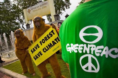 Cha-am, Thailand, 1 March 2009 – In a street-theatre protest today at the venue of the ASEAN summit, Greenpeace activists wearing masks of ASEAN heads of states and orang-utans mimicked the ceremonial hand-holding gesture of the ASEAN heads, who agreed to save the forest to help stop climate change – to the joy of orang-utans. Greenpeace is demanding that ASEAN leaders immediately declare a moratorium on deforestation, and agree on zero deforestation in the region by 2020.