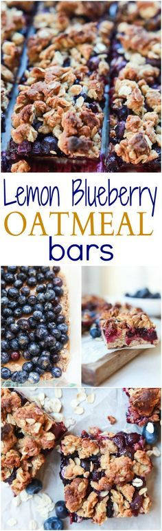 Lemon Blueberry Oatmeal Bars, filled with fresh fruit, lemon zest, and topped with a crumble that you won't be able to stop munching on! These Bars are easy to throw together and make a great breakfast, snack, or even dessert! | joyfulhealthyeats.com