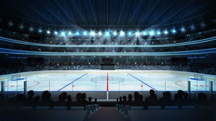 Hockey Stadium With Fans And An Empty Ice Rink Wall Mural Pixers We Live To Change Wall Murals Rendering Walls Sports Arena