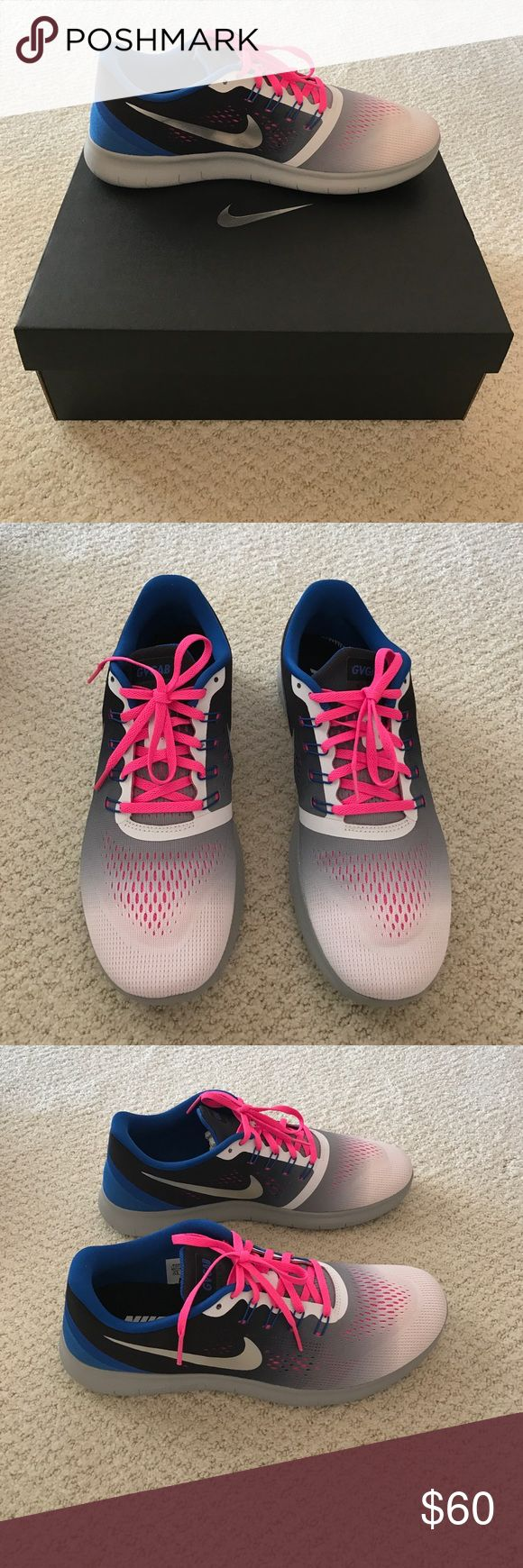 Nike ID women's running sneakers size 11.5 Never been worn! These hot pink, gray, white and royal sneakers are beautiful and the latest in Nike. Nike Shoes Sneakers