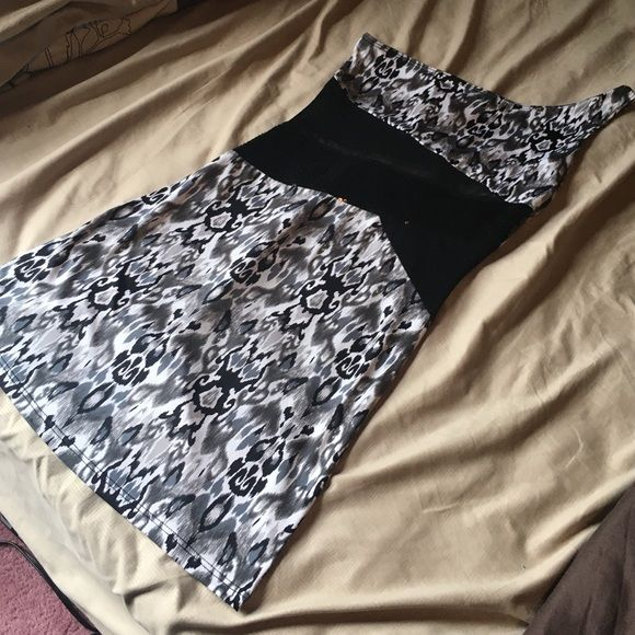 Aztec party dress Wore this once! Very cute! See through sheer in the middle with sequins! no rips or tears or sequins missing! Dresses One Shoulder