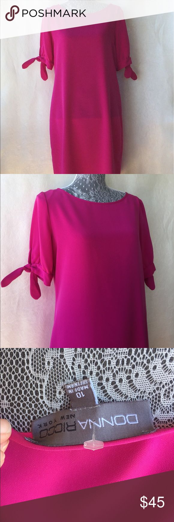 Fucsia Donna Rico Shift Dress Stunning and simple! Donna Ricco Fuscia Colored Shift Dress with tied sleeves. Perfect for summer events, weddings, or cocktail parties or could be worn to work too. Just beautiful! 37 long 40 chest. Thank you for shopping! NWOT. Donna Ricco Dresses Midi