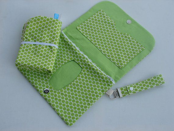 Green polka dot pattern nappy wallet with by BitsandBobs4Bubs, $45.00