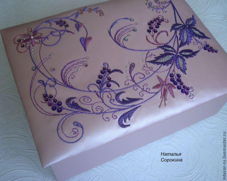 """Купить Кожаная шкатулка для украшений """"Цветочные фантазии-1"""" - розовый, шкатулка, шкатулка для украшений"""