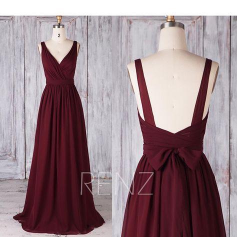 Bridesmaid Dress Wine Chiffon Dress,Wedding Dress,Double Straps Maxi Dress with Sash,Ruched V Neck Prom Dress,Open Back Evening Dress(H506B)
