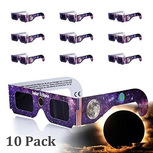 Eclipse Glasses Solar Eclipse Glasses COOLQO [Eye Protection] CE and ISO Certified Safe Shades [safety glasses] for Direct Sun Viewing (10 Pack) Assorted #03