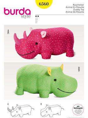 Kuscheltiere – Nilpferd – Nashorn – XXL-Stofftier Schnittmuster