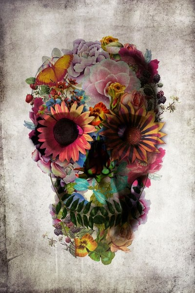 """Part of feature artist Ali Gulec's series """"The Message,"""" this creative interpretation of a skull is covered in colorful flowers and is one of his most recognizable pieces. Used for everything from pri"""